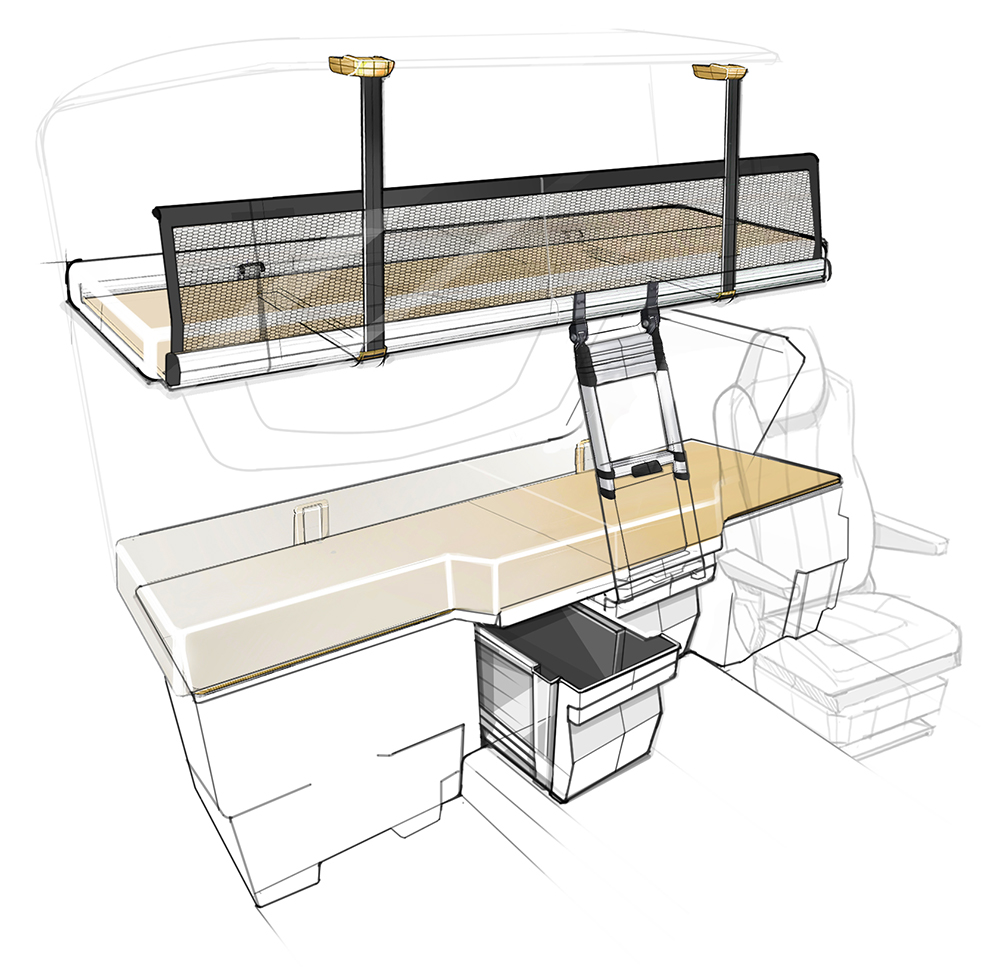 Berco - Truck Interior Cab Industrial Design ID Concept Sketch Sketching Drawing Bed ladder Chair Storage Markers Rear Sleep