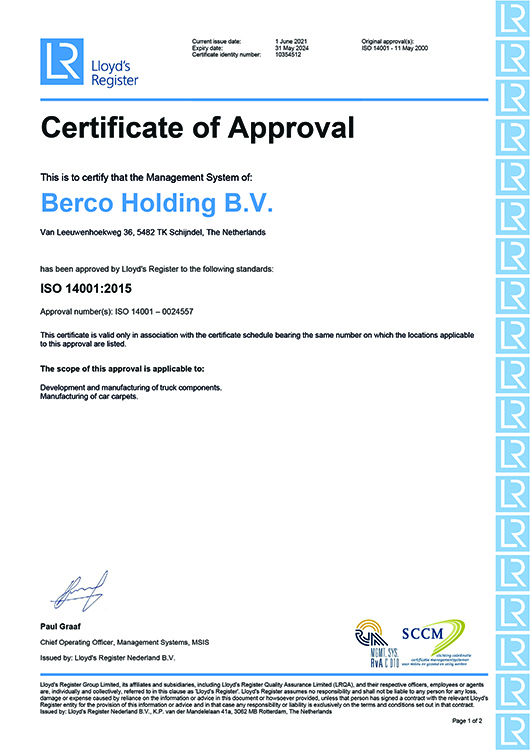 Berco - ISO 14001 Certificate Automotive Supplier Quality Performance
